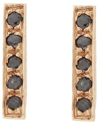 Jennifer Meyer Black Diamond Bar Stud Earrings - Rose Gold