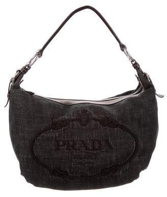Prada Leather-Trimmed Denim Hobo