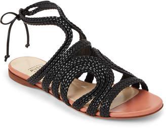 Francesco Russo Black Braided Leather Flat Sandals