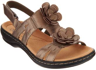 Clarks Leather Lightweight Sandals with Flower Detail - Leisa Claytin