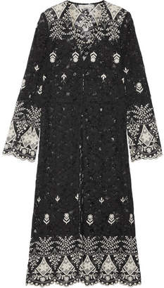 Alice + Olivia Alice Olivia - Stara Embroidered Cotton-blend Corded Lace Kaftan - Black $430 thestylecure.com