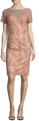 La Femme Short-Sleeve Embroidered Sheath Dress, Mauve $450 thestylecure.com