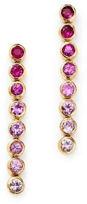 SheBee 14K Yellow Gold Ombré Pink Sapphire Linear Drop Earrings
