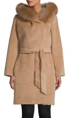 Max Mara Pevera Fox Fur Trim Coat