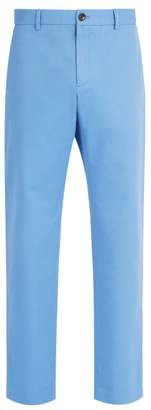 Gucci Logo Embroidered Chino Trousers - Mens - Light Blue