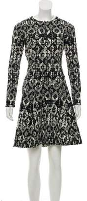 Lela Rose Fluted Jacquard Dress