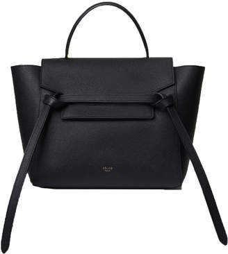 Celine Top Handle Belt Bag Grained Micro Black