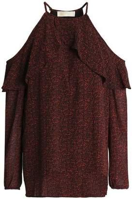 MICHAEL Michael Kors Cold-Shoulder Floral-Print Crepe Blouse