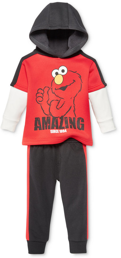 Nannette Baby Boys' 2-Pc. Layered-Look Amazing Elmo Hoodie & Pants Set