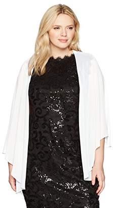 S.L. Fashions Women's Plus Size Solid Chiffon Cascade Crop Shrug
