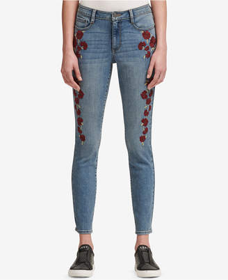DKNY Floral Embroidered Skinny Jeans