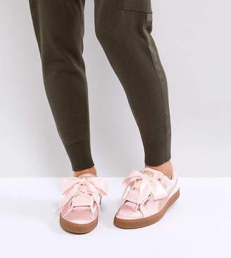 Puma Basket Heart Sneakers In Pink Velvet