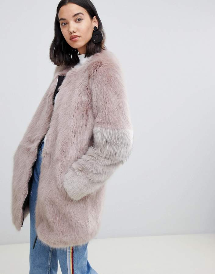 Urbancode Claudia faux fur collarless zip coat