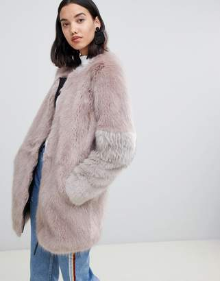 Urban Code Urbancode Claudia faux fur collarless zip coat