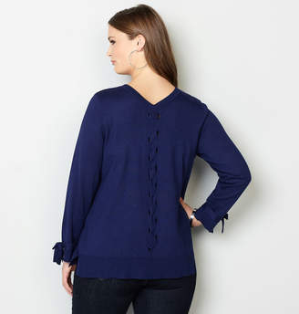 Avenue Lace-Up V-Neck Pullover