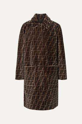 Fendi Reversible Printed Shearling Coat - Dark brown