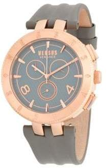 Versace Rose-Goldtone Stainless Steel Leather Strap Watch