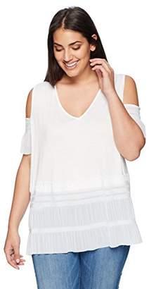Lysse Women's Plus Size Lacey Jersey Cold Shoulder Top