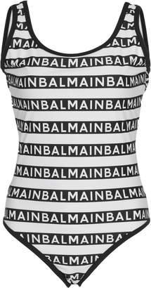 Balmain Striped Logo-Intarsia Stretch-Knit Swimsuit Size: 34