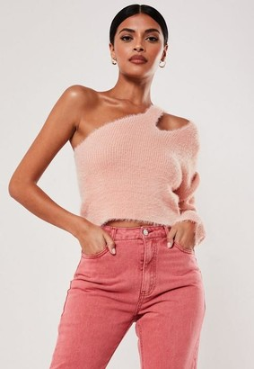 Missguided Pink Fluffy Cut Out Neck Double Strap Sweater