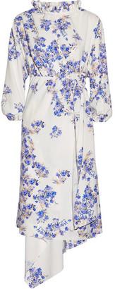 Vetements - Asymmetric Floral-print Stretch-crepe Wrap Dress - White $1,795 thestylecure.com