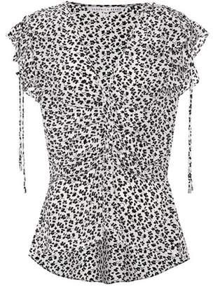 Veronica Beard Floral-printed silk top