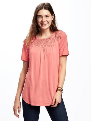 Relaxed Crochet-Yoke Tee for Women $19.94 thestylecure.com
