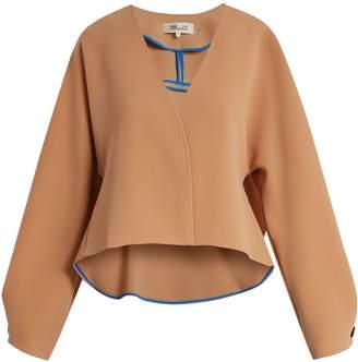 Diane von Furstenberg V-neck peplum-back cropped cady jacket