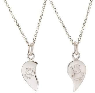 Peppa Pig Sterling Silver Enamel Split Heart Pendants with 36cm Trace Chains