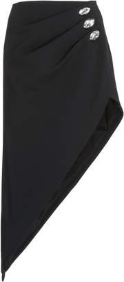 David Koma Ruched Crystal Pencil Skirt