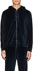 Derek Rose Men's Nico Cotton-Blend Velour Hoodie - Navy