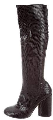Marc Jacobs Snakeskin Round-Toe Boots