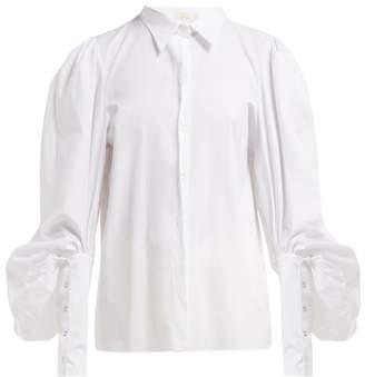 Sara Battaglia Balloon Sleeve Cotton Blouse - Womens - White