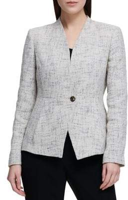 Donna Karan Asymmetrical Button Tweed Blazer