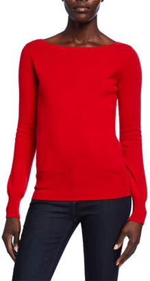 Neiman Marcus Bateau-Neck Long-Sleeve Classic Cashmere Sweater