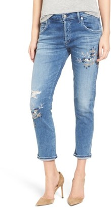 Women's Citizens Of Humanity Emerson Embroidered Slim Boyfriend Jeans $298 thestylecure.com