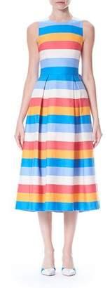 Carolina Herrera Back-Bow Tie Sleeveless Multi-Stripe A-Line Dress