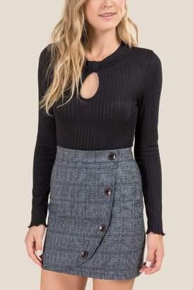francesca's Layne Keyhole Bodysuit - Black