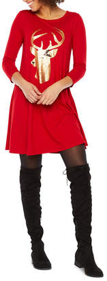 ST. JOHN'S BAY 3/4 Sleeve Holiday Swing Dresses