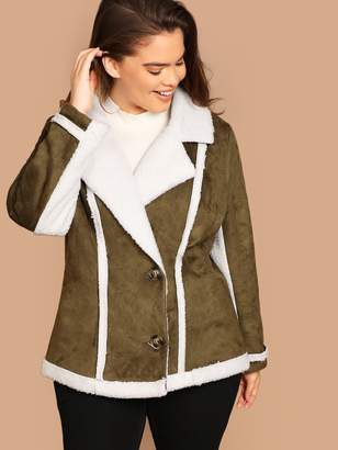 SheinShein Plus Contrast Faux Shearling Notch Collar Jacket