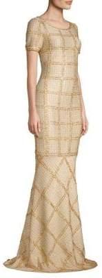St. John Metallic Plaid Gown