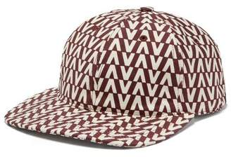 Valentino Optical Print Cotton Cap - Mens - Burgundy