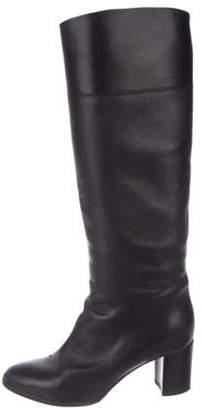 Christian Louboutin Leather Round-Toe Knee-High Boots Black Leather Round-Toe Knee-High Boots