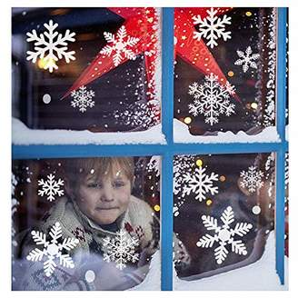 SUNBOOM Christmas Decorations Snowflake Window Clings Snowflakes Stickers Windows Decals for Kids [150+ Pcs] White Snowflake Ornaments Winter Snow Holiday Decal (5 Sheet)
