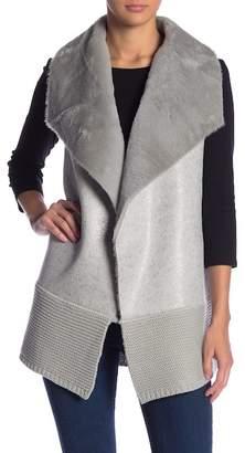 Love Token Faux Fur Knit Vest