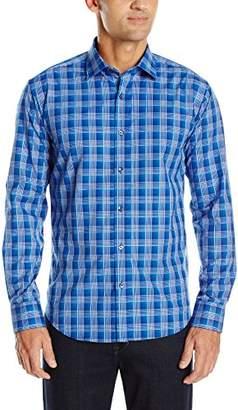 Bugatchi Men's Vibrant Blue Plaid Button Down Shirt