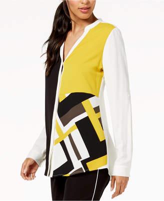 Alfani Petite Colorblocked Cuffed-Sleeve Blouse, Created for Macy's