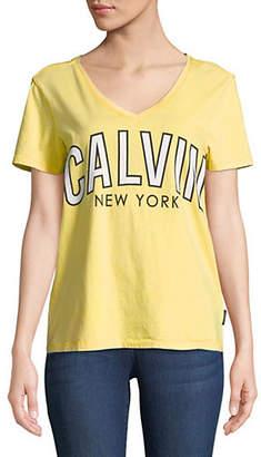 Calvin Klein Jeans Flock Logo V-Neck Tee