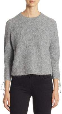 3.1 Phillip Lim Textured Lace-Up Crewneck Pullover
