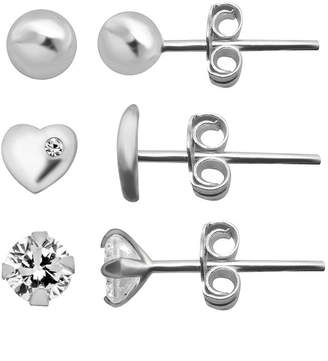 clear ITSY BITSY Itsy Bitsy Ear Trios 3 Pair Simulated Sterling Silver Heart Earring Set
